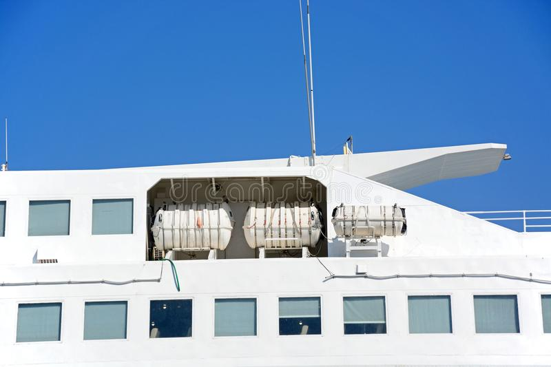 Ferry life raft capsules, Crete. royalty free stock photo