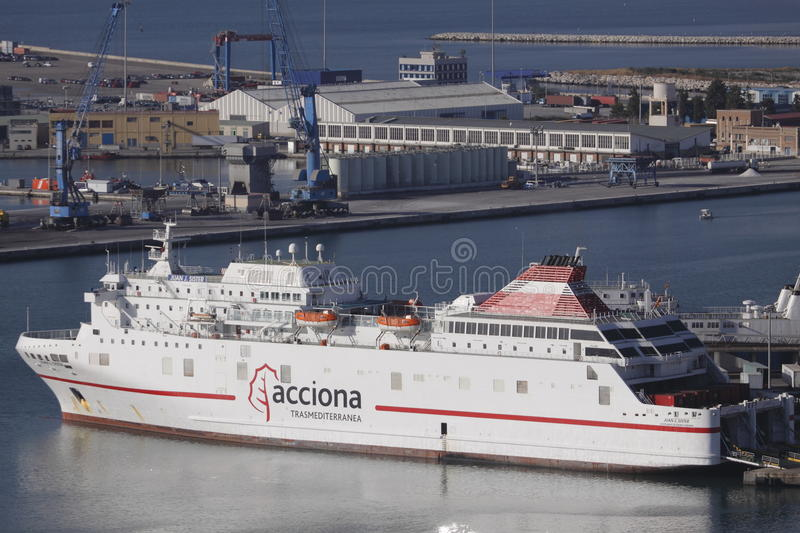 Ferry in Malaga harbour royalty free stock image