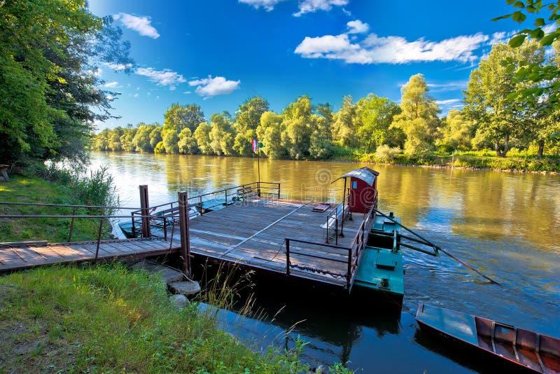 Ferry on Mura river in Medjimurje region view. Northern Croatia royalty free stock photo