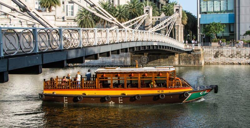Ferry over the Bridge stock photo