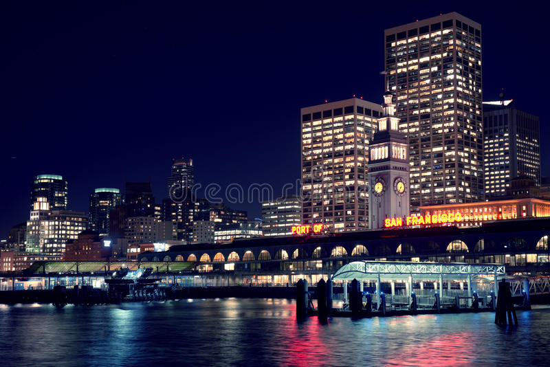 Ferry pier Night Scene - Port of San Francisco. In dask royalty free stock photography