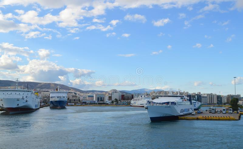 Ferry in Piraeus port, Athens, Greece on June 19, 2017. ATHENS, GREECE - JUNE 19: Ferry in Piraeus port, Athens, Greece on June 19, 2017 stock photo