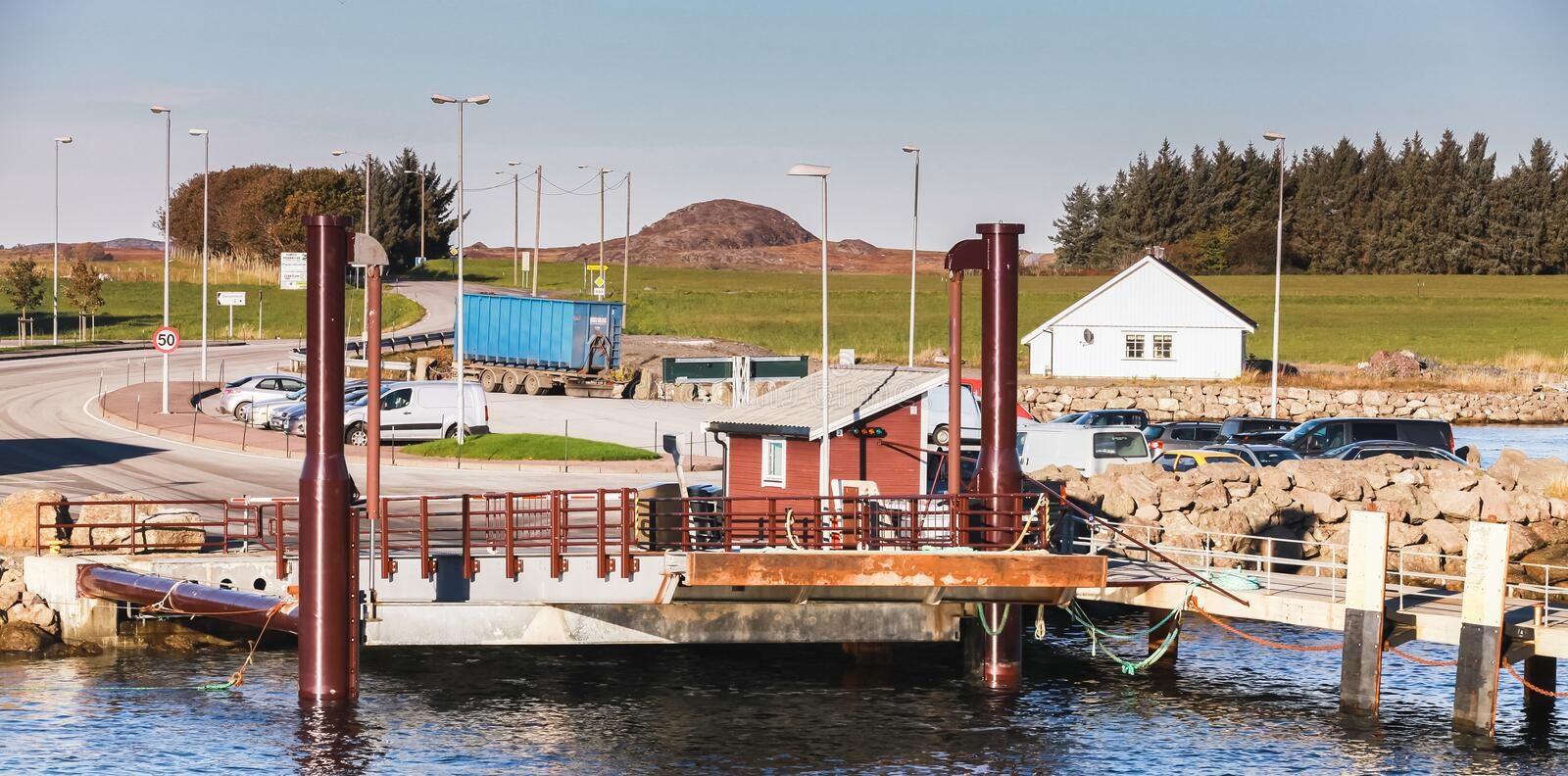 Ferry ramp and mooring pier in Norway royalty free stock photography