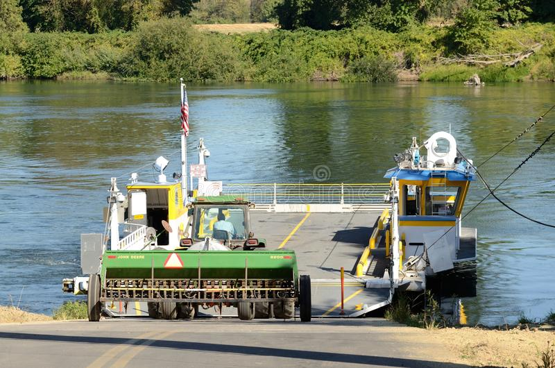 Ferry Ride. A ferry crosses the Willamette River in Oregon outside Salem royalty free stock images