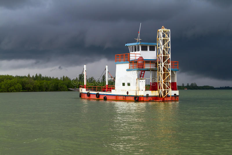 Ferry On The River Before Storm Royalty Free Stock Images