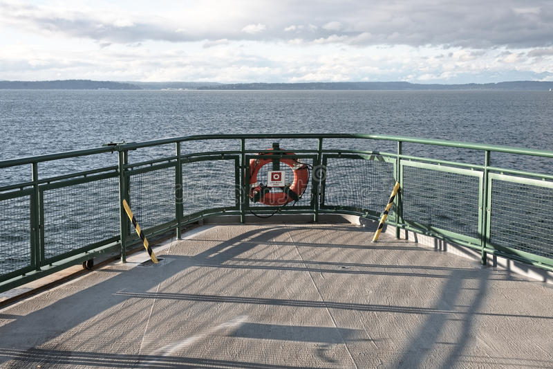 Ferry ship deck with life preserver