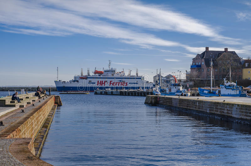 Ferry ship in the harbour stock images