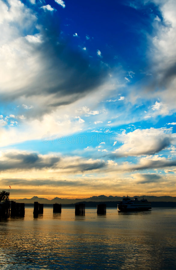 Download Ferry during sunset stock image. Image of passenger, piers - 3906435