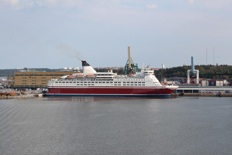 Ferry Tallink company in the Stockholm port. stock photography
