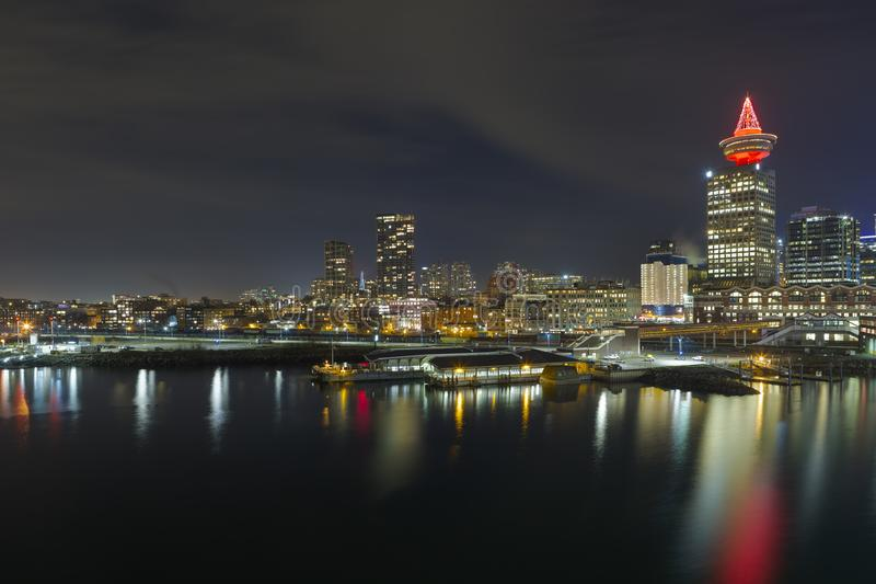 Ferry Terminal in Vancouver BC Canada at Night winter season stock photography