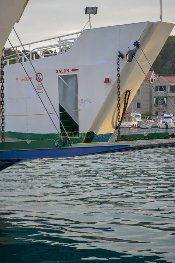 Ferry to Brac island leaving fisherman`s Wharf of Makarska city in Makarska, Dalmatia, Croatia on Jun stock photo