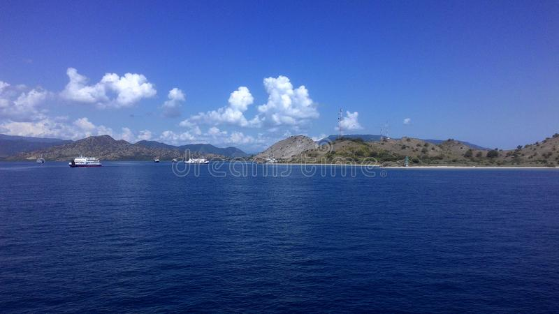 Ferry traffic at West Sumbawa Harbour stock photography