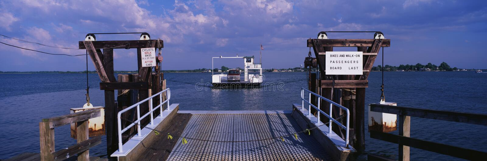 This is the ferry that travels between Oxford and Bellevue on the Eastern Shore of Maryland. It started operating initially in. 1683 and has been in continuous royalty free stock photography