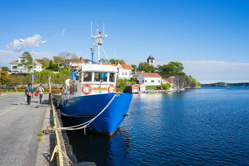Ferryboat dock at the seaport in Brevik, Norway. royalty free stock photography