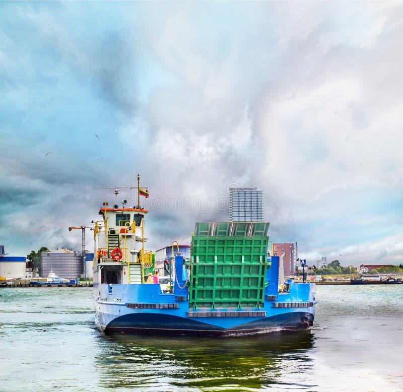 Ferryboat in Klaipeda harbor stock photo