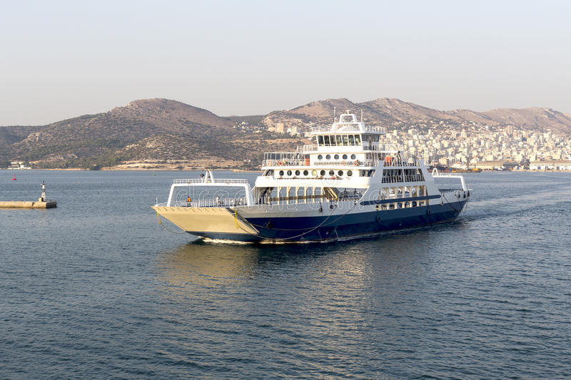 The ferryboat swims at sea stock photography