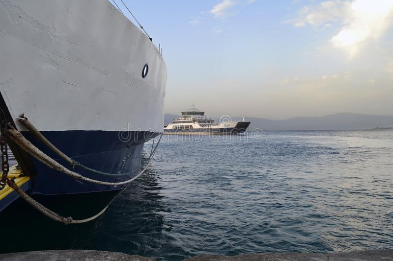 Ferryboats that connect Rio and antirrio city in Greece. Ferryboats connect central Greece with Peloponnese. From the city of Antirrio to the city of Rio royalty free stock image