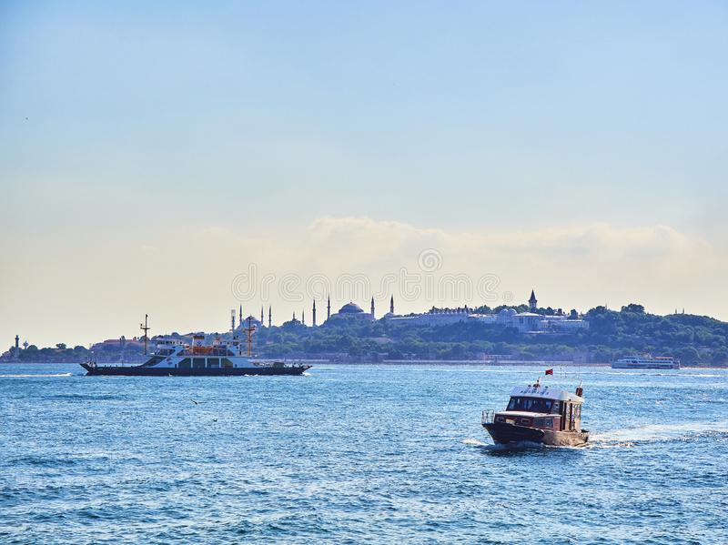 Ferryboats crossing the Bosphorus. Istanbul, Turkey. royalty free stock image