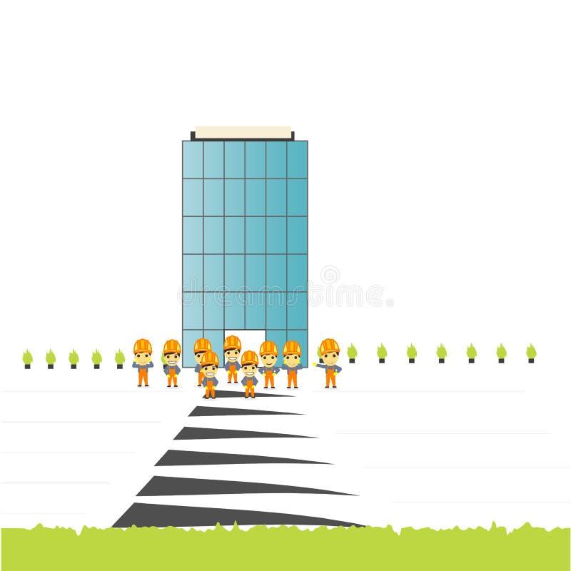Fertiges Gebäude des Bauteams lizenzfreies stockbild