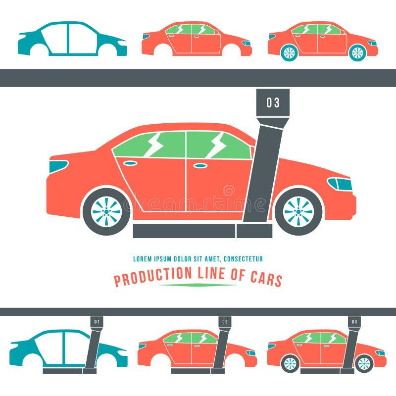 Fertigungsstraße von Autos stock abbildung