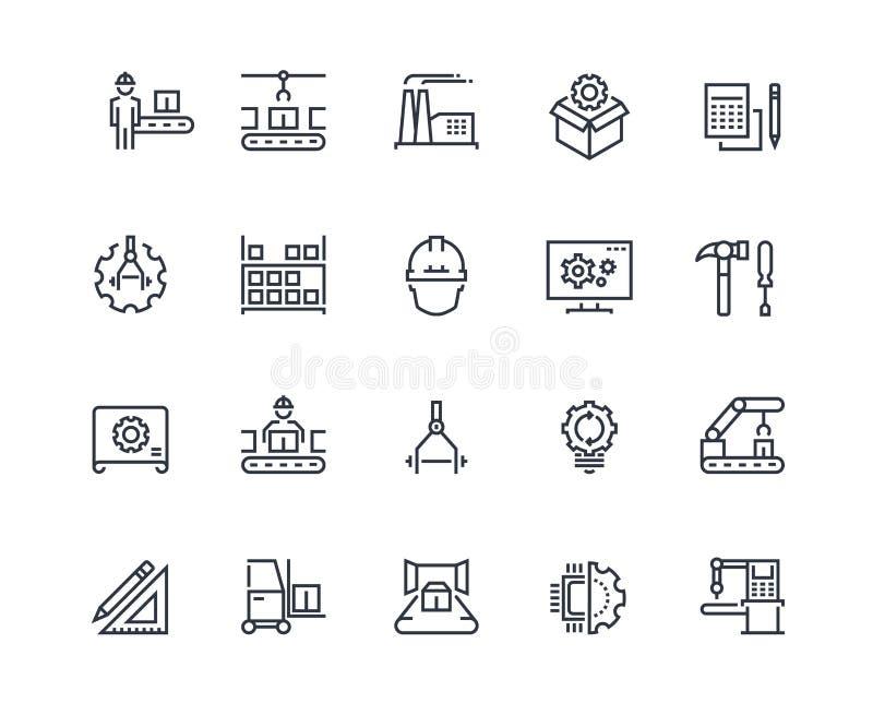 Fertigungsstra?e-Ikonen Maschinelle Herstellung der Industrie, Fabrikf?rdererlinie, automatischer Robotermanipulator industriell lizenzfreie abbildung