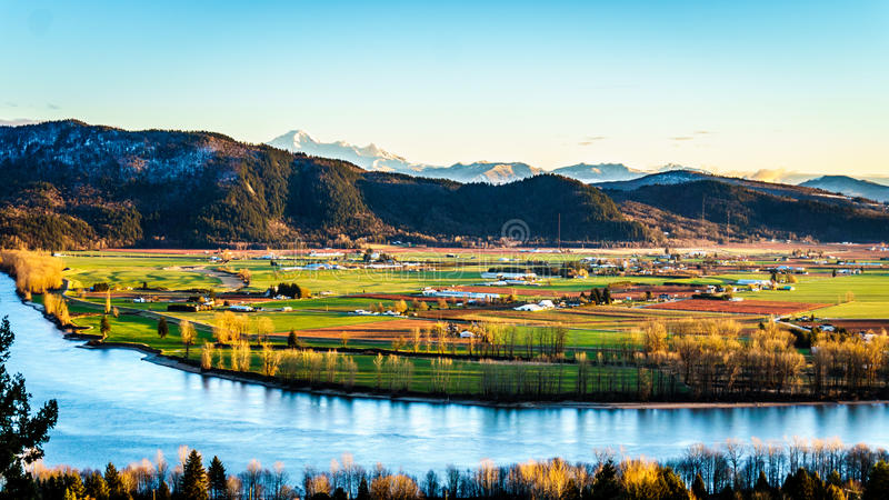The fertile farmland of the Fraser Valley in British Columbia. South of the Fraser River with Mount Baker in the distant background from Mission Hill, north of stock photos