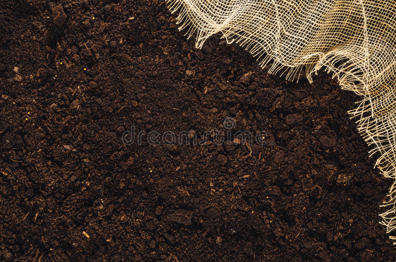 Download Fertile Garden Soil Texture With Jute Cloth Background Top View  Stock Photo   Image: