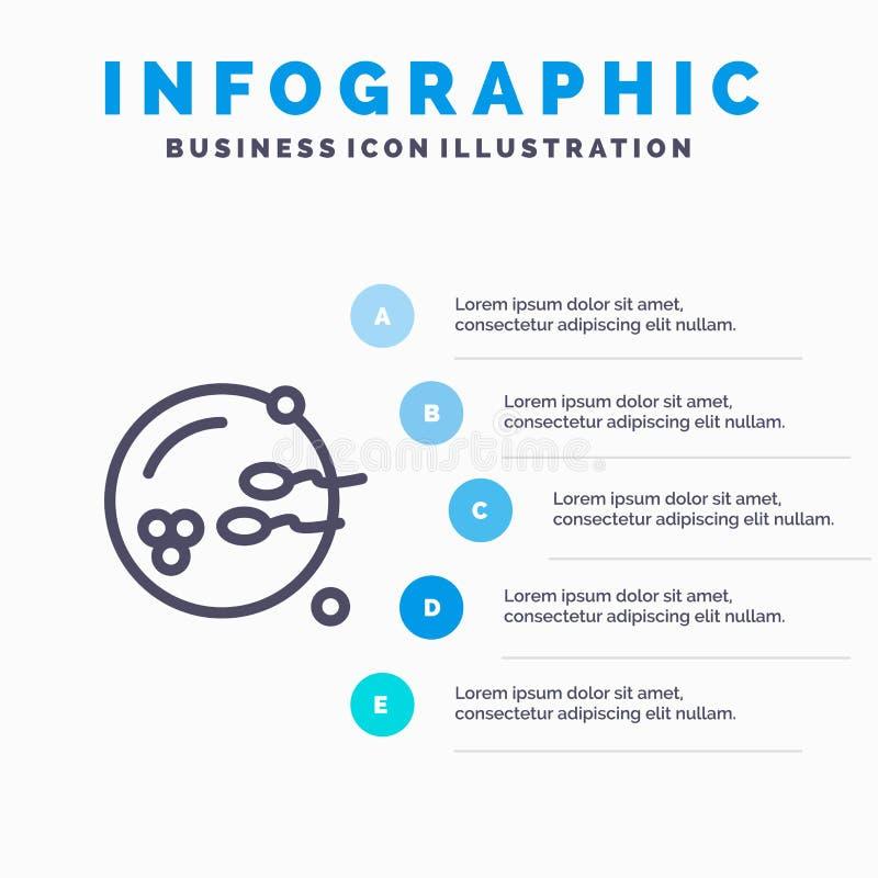Fertile, procréation, reproduction, ligne icône de sexe avec le fond d'infographics de présentation de 5 étapes illustration libre de droits