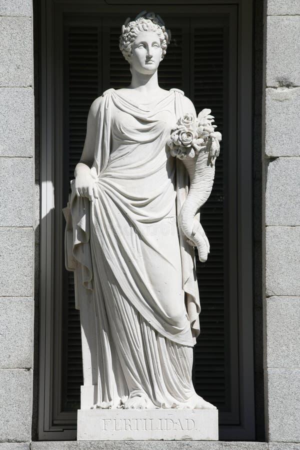 Fertility allegory. Allegory of fertility. Allegorical statue in Prado Museum facade, Madrid, Spain stock photo