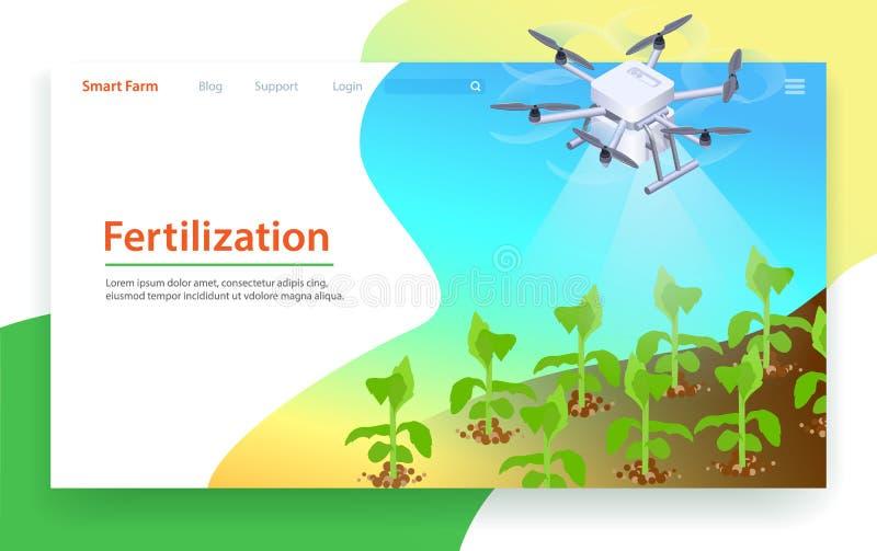 Fertilization in Smart Farm. Landing Page Template royalty free illustration