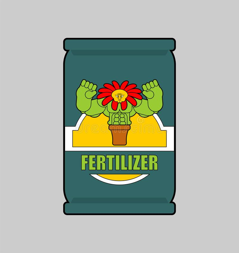 Fertilizer bag isolated. strong plants. vector illustration.  stock illustration