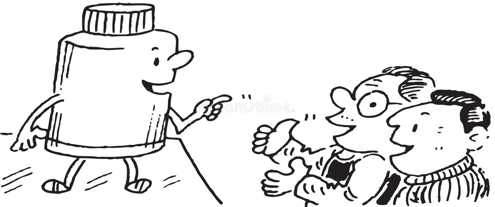 Fertilizer talking to farmers. Illustration of a large cartoon character fertilizer, pointing and talking to two laughing farmers stock illustration