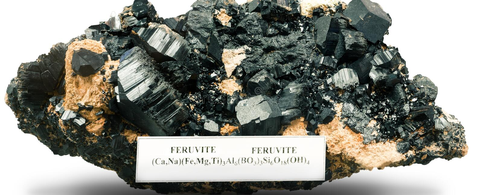The feruvite. Tourmalines group on white royalty free stock photos