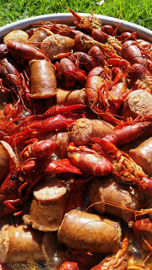 Fervura dos lagostins de Louisiana fotos de stock