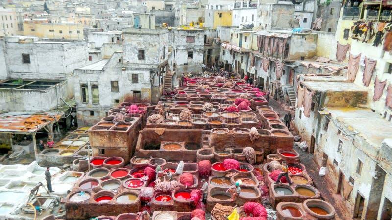 Fes, Marocco皮革厂 免版税库存图片