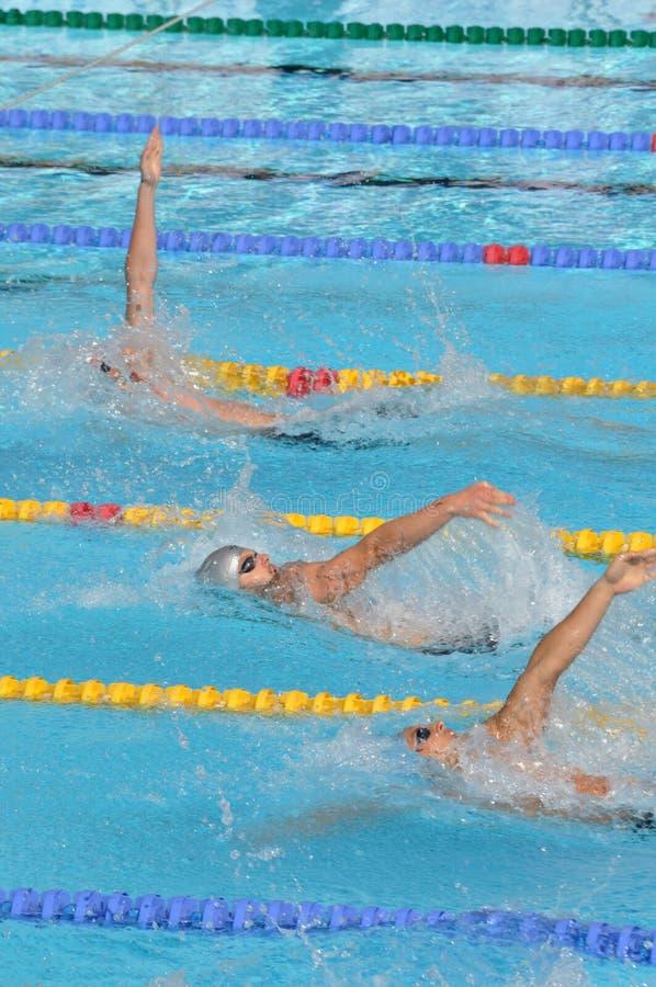 FES aperto 2010, nuotatori posteriori di crawl fotografia stock