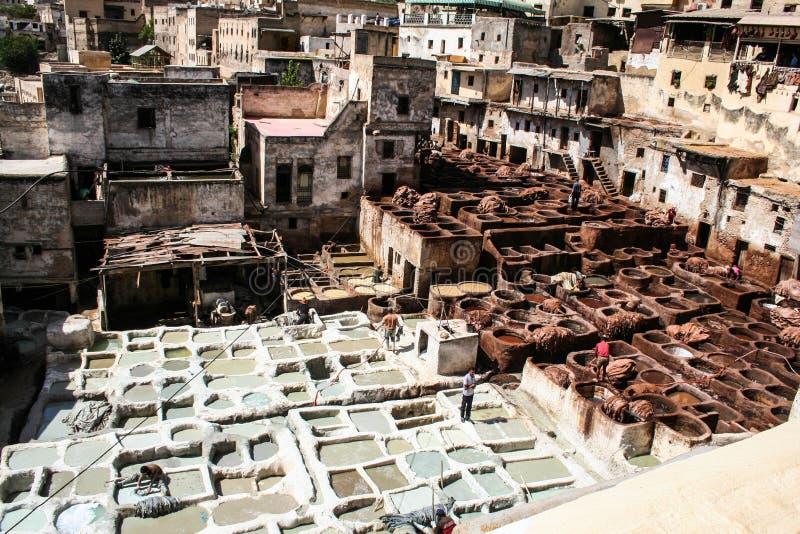 Fes garveri Marocco arkivbilder