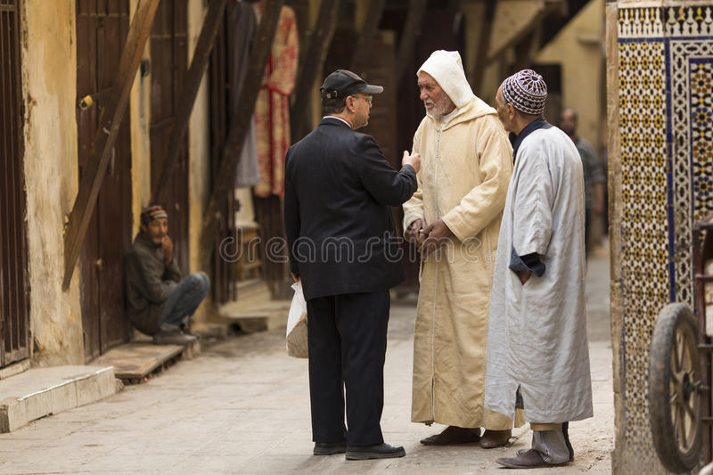 FES, MOROCCO, April 19 people walking on street of Fes, Morocco, The Unesco World Heritage Site, 2015 royalty free stock photography