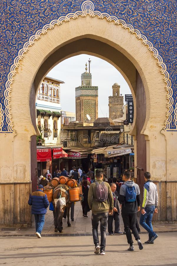 Minaret tower view from the door entrance of the Fez City, Morocco stock image