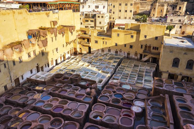 Dye reservoirs in tannery in ancient medina Fes, Morocco stock photo