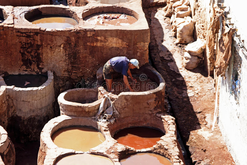 Download FES - OCTOBER 17: Morrocan Man Working Dying Skins In A Fes Tann Editorial Photo - Image: 36243516