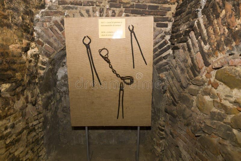 Fessel und Zangen verwendeten für Folterung die Insassen lizenzfreies stockfoto
