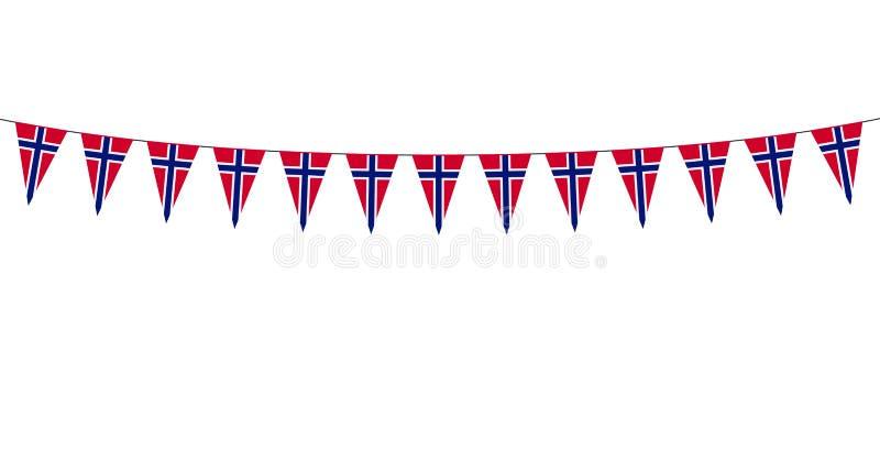 Festão com as flâmulas dos noruegueses no fundo branco ilustração royalty free