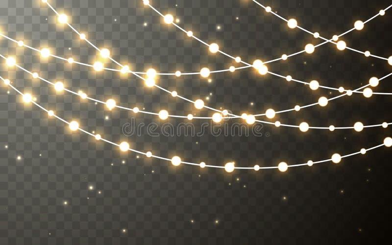 Festão da cor do Xmas, decorações festivas Decoração transparente de incandescência do efeito das luzes de Natal no fundo escuro  ilustração stock