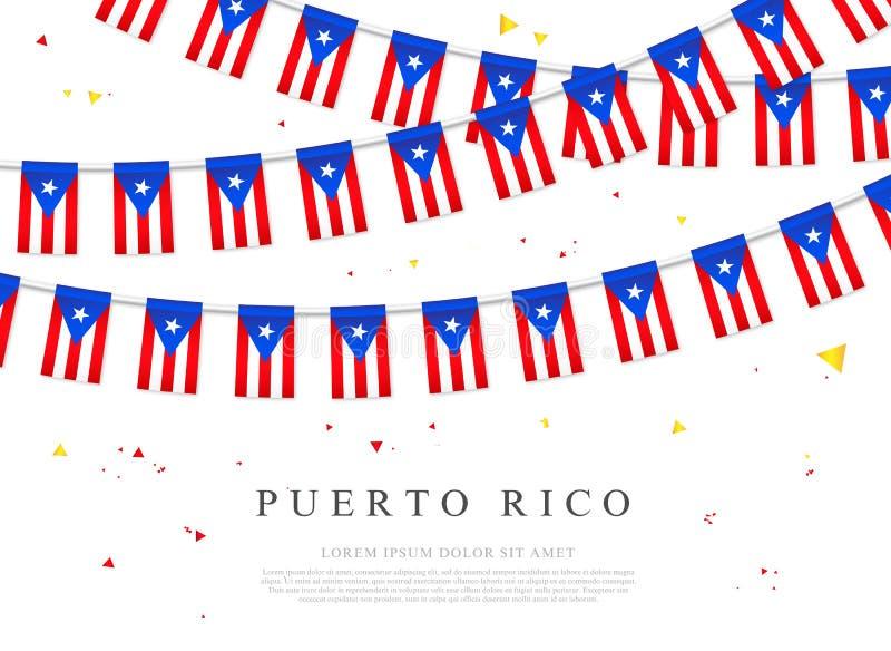 Festão de bandeiras de Porto Rico Puerto Rico Independence Day ilustração do vetor