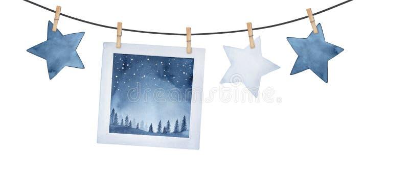 Festão decorativa com ilustração da imagem da noite estrelado e estrelas extravagantes nos pinos de roupa de madeira ilustração do vetor