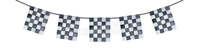Festão decorativa do festão com teste padrão quadriculado preto e branco foto de stock royalty free