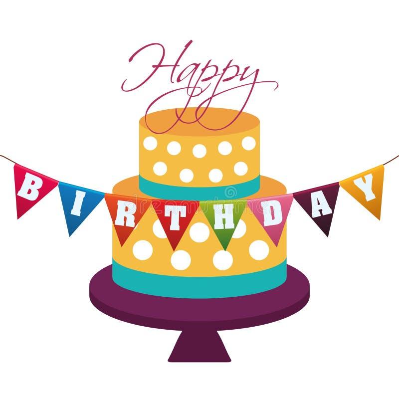 festão decorativa dos pontos do bolo do feliz aniversario ilustração do vetor
