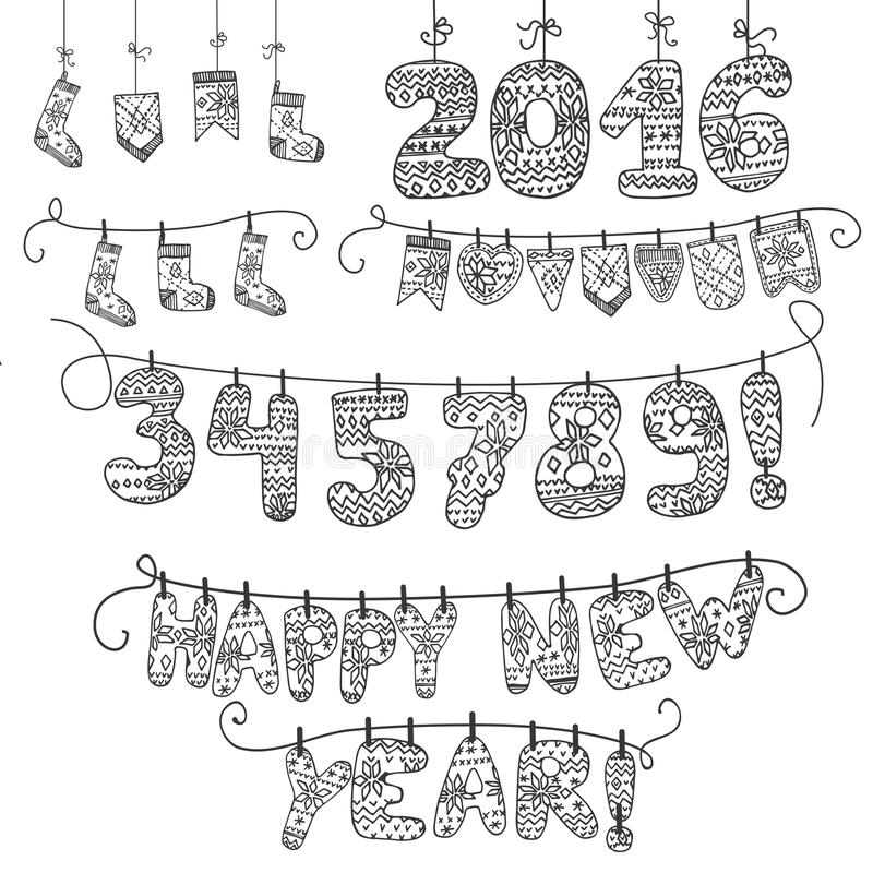 Festão do ano novo Números feitos malha, peúgas, letras 2016 linear ilustração royalty free