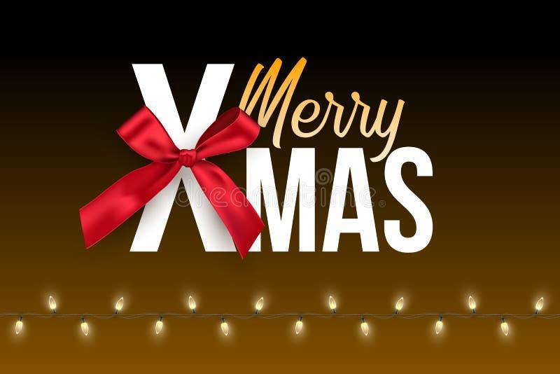 Festão do bulbo e texto alegre do Xmas com a curva vermelha isolada no fundo escuro Molde do projeto do feriado de inverno do vet ilustração stock
